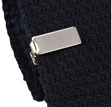 Mens Boys Thick Silver Tie Bar - Luxury Skinny Clip - Stainless Steel Clasp Pin