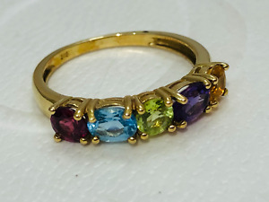 Multi Coloured Gemstone 9 ct Gold Ring Size N
