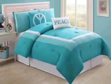 Full Size Comforter Set Bedding Turquoise Blue Peace Sign Bedspread Teens Kids