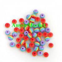 50 x beads striped stripe rainbow kids girls necklace bracelet jewellery 8mm