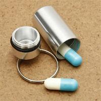 Pillendose Pille Mediamentenbox Tablettenbox Schlüsselanhänger Silver^ T1F3