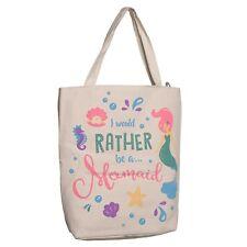 High Quality Large Mermaid Design Zipper Hand /Tote Cotton Shopper Bag