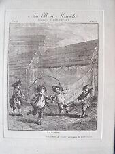 1m5 Ancienne gravure du Bon Marché jeux de polissons 19e