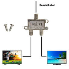 Kabel TV 2 fach Veteiler 5-1200Mhz DVB-C  T2  UKW Kabelanschluss splitten fvc-2l