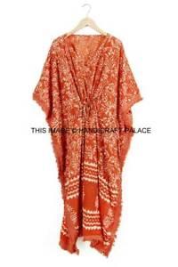 Anokhi,Vintage Indian Block Print cotton Kaftan Maxi Dress,Hippy Long Caftan