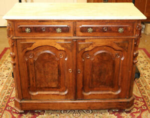 Great Marble Top Walnut Victorian Server Chest Circa 1890