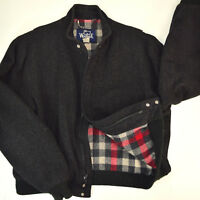 Vtg Woolrich Cafe Racer Bomber Jacket Sz Lg Plaid Lined Action Back SaltPepper