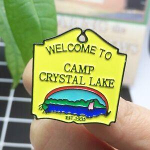 FRIDAY THE THIRTEENTH CAMP CRYSTAL LAKE ENAMEL PIN BADGE JASON VOORHEES