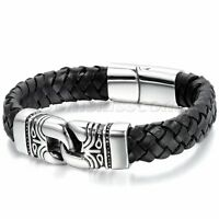 Men's Vintage Leather Stainless Steel Magnetic Buckle Totem Bracelet Bangle Cuff