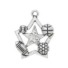 10 pc Charm Pendant Star Silver Basketball Football Rugby 3.1cmx2.5cm LC4098