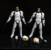 lot of 2 Star Wars Clone Pilot TROOPER Revenge Of The Sith 501st figure w gun