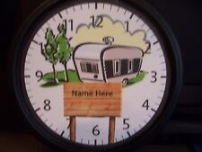 """WALL CLOCK- CAMPING THEME. #9    Battery operated 9"""" Personalized- Campground-RV"""