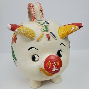Vintage FOLK ART Mexican Pottery Ceramic Piggy Bank 8x9x5.5 Inch