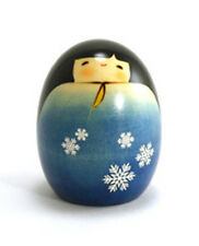 """Japanese Creative KOKESHI Wooden Doll Girl 2.75""""H Snow Fairy Blue, Made in Japan"""