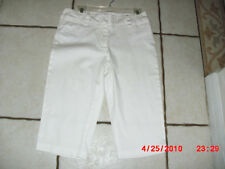 "FOCUS 2000 WHITE STRETCH CAPRI PANTS 4"" ZIPPER  98% COTTON 2% SPANDEX SIZE 6"