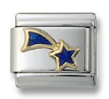 Shooting Star 18K Italian Charm Blue Enamel 9 mm Stainless Steel Modular Link