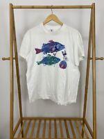 VTG 90s Bold Sea Life Fish Shell Short Sleeve Single Stitch White T-Shirt L USA