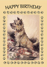CAIRN TERRIER DOG ON CHAIR BIRTHDAY GREETINGS NOTE CARD