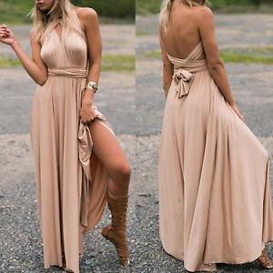 Women Evening Dress Convertible Multi Way Wrap Bridesmaids Formal Maxi Ball Gown