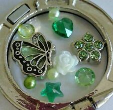 Green Butterfly Floating Charm set Flower Rose crystal pearl for Locket