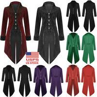 Vintage Men Tailcoat Jacket Goth Steampunk Uniform Costume Praty Outwear Coat US