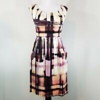 Maggy London Sheath Dress Size 4 Sleeveless Multi-colored Pleated Waist