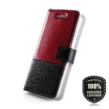 Surazo ® Premium Véritable Cuir Sac Housse de protection Wallet Case Cover-rouge...