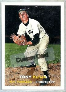 TONY KUBEK NEW YORK YANKEES 1957 STYLE CUSTOM MADE BASEBALL CARD BLANK BACK