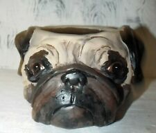 Folk Art Pug Dog Pottery Pot Container Hand Sculpted One of a Kind