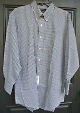 Nautica Small Check Long Sleeve Button Front Dress Shirt Men's 17 32/33 NWT $70