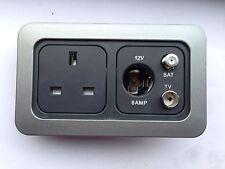 Caravan CLine x1 13Amp Socket, x1 Backbox x1 Double Faceplate x1 12 V.sat,Airea