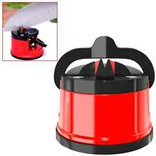 Afilador de Cuchillos Tijeras Manual con Ventosa de Fijacion para Cocina Rojo