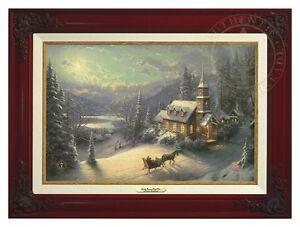 Thomas Kinkade Sunday Evening Sleigh Ride 12 x 18 Canvas (Brandy Frame)