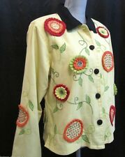 BLEU BAYOU WOMENS multi cotton JACKET COAT Blazer 3D embellished floral SZ L NEW