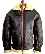 USAAF B-3 LEATHER SHEEPSKIN Shearling Flying Pilot Aviator Bomber Jacket Coat