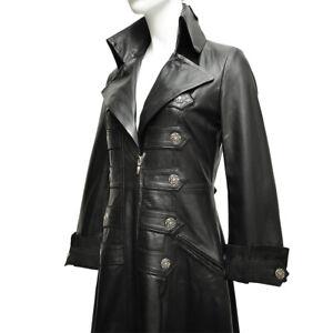 Women's Luxury Leather Black Full Length Victorian Gothic Matrix Long Coat
