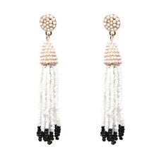 Boucles d`Oreilles Mini Perle Pompon Tassel Artisanal Beige Blanc Noir AA21