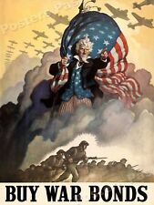 "Uncle Sam ""Buy War Bonds"" 1942 Vintage Style World War 2 Poster - 18x24"