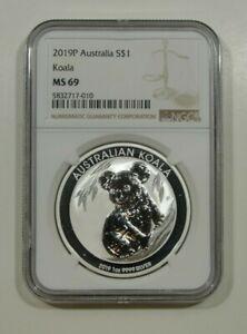 2019 Australia $1 Silver Koala NGC MS69 Stunning Blast White Coin -010