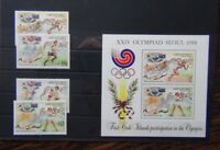 Aitutaki 1988 Olympic Games set & Miniature sheet MNH