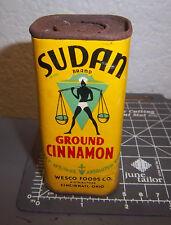 Vintage 1931 Sudan ground CINNAMON 1.75 oz spice tin, great graphics, WESCO