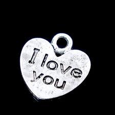"""Lot 5 Pendentif Coeur Argenté """" i love you """" 12mm x 11mm Breloques Charms"""