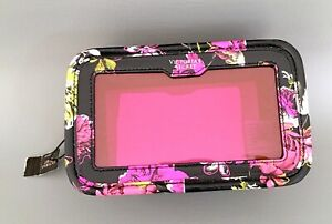 VICTORIA'S SECRET Faux Leather Flower Print Zip Around Make-Up, Cosmetic Bag NWT