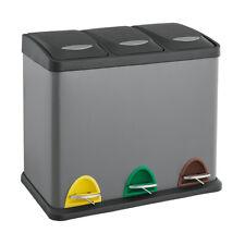 SVITA TC3X15 Kücheneimer 45L Mülleimer Trennsystem Treteimer Abfalleimer Grau
