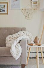 """New Lane & Mae Big Knit Blanket Ivory 48"""" x 70"""" 100% Un-spun Merino Wool"""