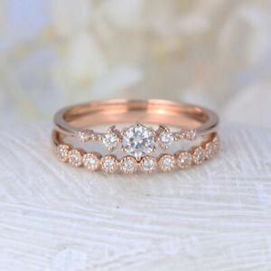 14K Rose Gold Finish 0.58 CT Round Cut Diamond Beautiful Engagement RingFor Her