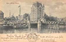 Rotterdam Netherlands scenic view boats in river Witte Huis antique pc Z29977