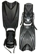 QBAS Scuba Diving/Snorkeling Fins with Adjustable Straps Open Heel Size MD