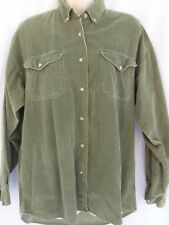 Vintage Authentic At Last Green Corduroy Long Sleeved Ladies Blouse All Cotton M
