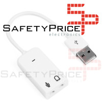 Adaptador Tarjeta de Sonido USB 2.0 Audio Sound 7.1 Adapter Mini Jack Blanca